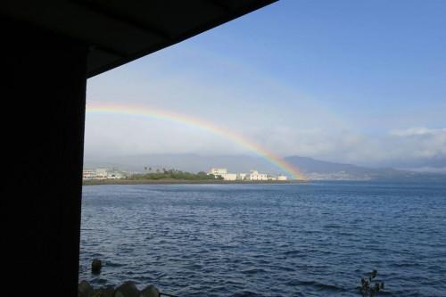 二重にかかるきれいな虹を見ることができました