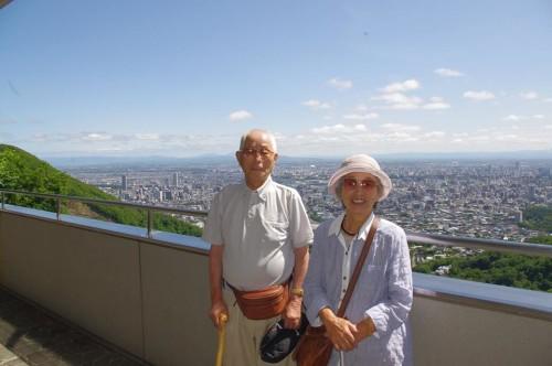 大倉山の山頂で記念写真